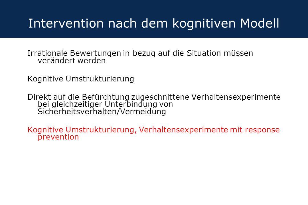 Intervention nach dem kognitiven Modell Irrationale Bewertungen in bezug auf die Situation müssen verändert werden Kognitive Umstrukturierung Direkt a