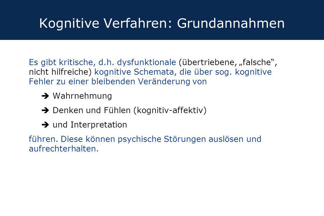 """Kognitive Verfahren: Grundannahmen Es gibt kritische, d.h. dysfunktionale (übertriebene, """"falsche"""", nicht hilfreiche) kognitive Schemata, die über sog"""