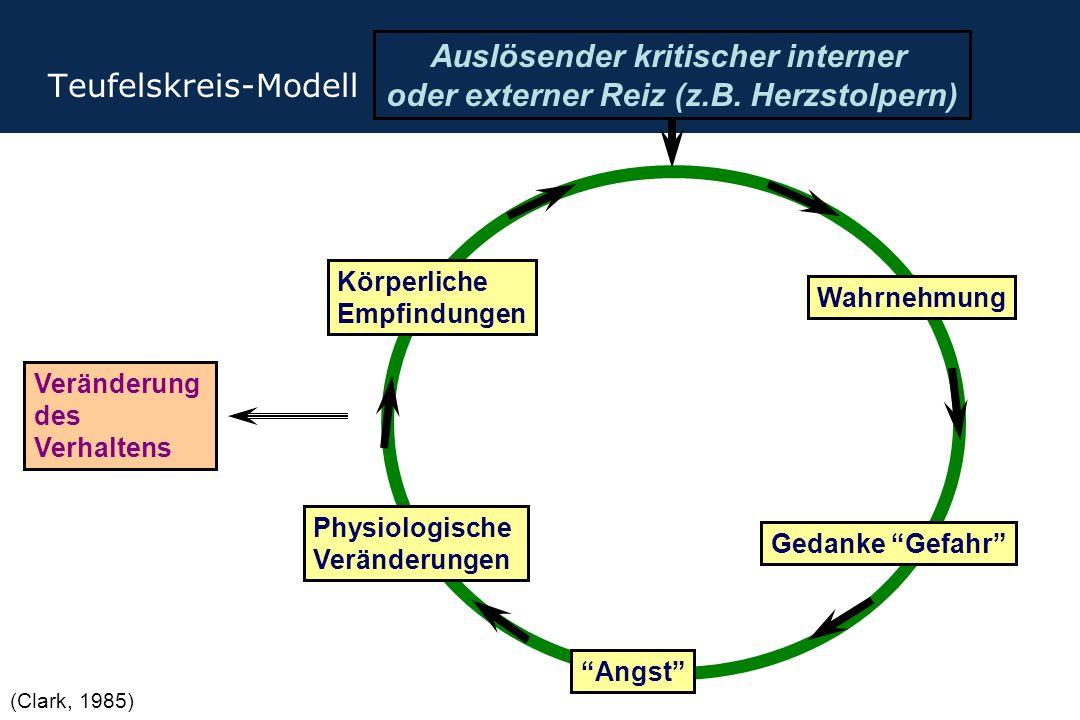 """Teufelskreis-Modell Auslösender kritischer interner oder externer Reiz (z.B. Herzstolpern) Wahrnehmung Gedanke """"Gefahr"""" Physiologische Veränderungen """""""
