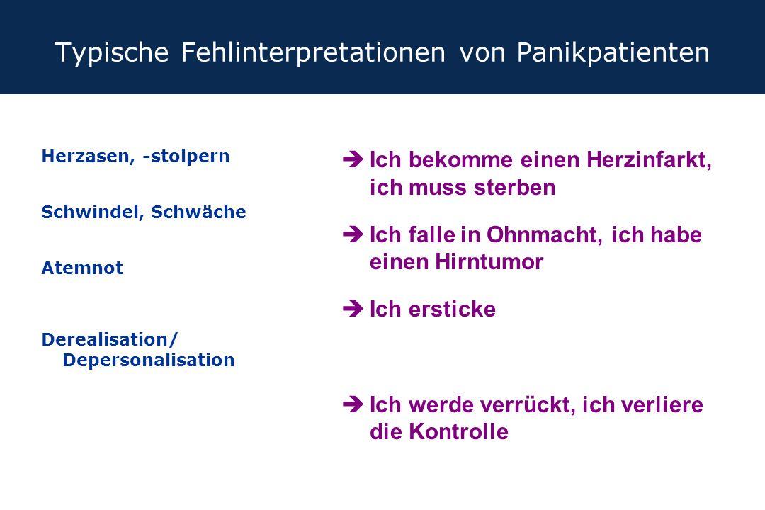 Typische Fehlinterpretationen von Panikpatienten Herzasen, -stolpern Schwindel, Schwäche Atemnot Derealisation/ Depersonalisation èIch bekomme einen H