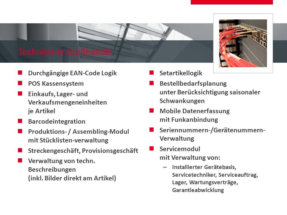 Technischer Großhandel Durchgängige EAN-Code Logik POS Kassensystem Einkaufs, Lager- und Verkaufsmengeneinheiten je Artikel Barcodeintegration Produkt