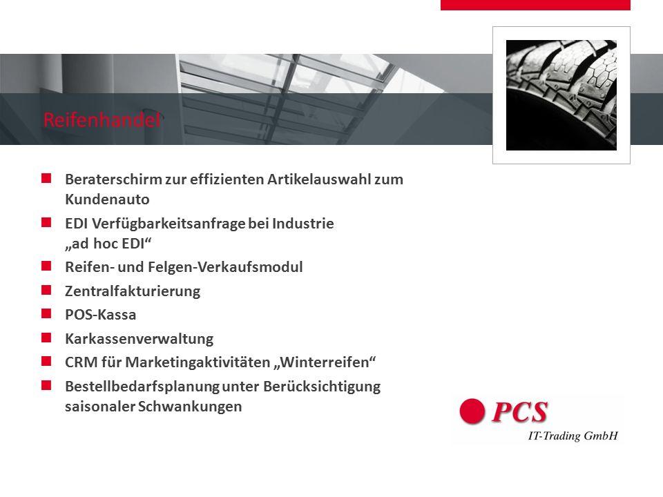 """Reifenhandel Beraterschirm zur effizienten Artikelauswahl zum Kundenauto EDI Verfügbarkeitsanfrage bei Industrie """"ad hoc EDI"""" Reifen- und Felgen-Verka"""