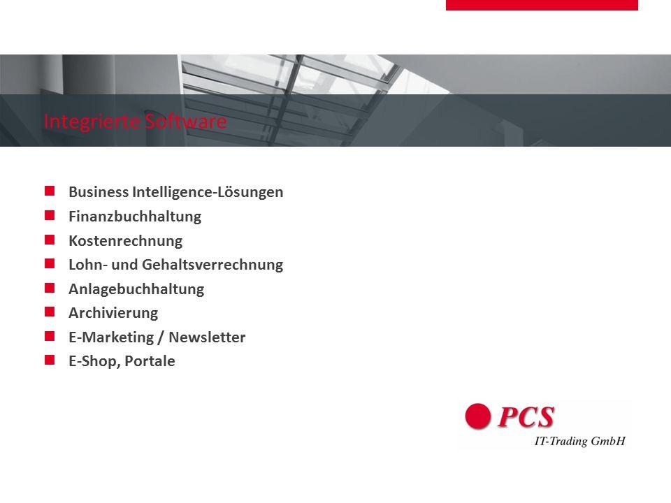 Integrierte Software Business Intelligence-Lösungen Finanzbuchhaltung Kostenrechnung Lohn- und Gehaltsverrechnung Anlagebuchhaltung Archivierung E-Mar