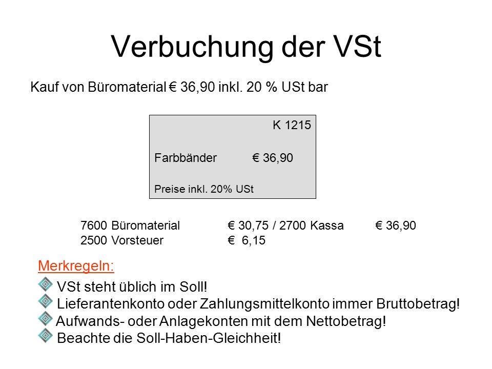 Verbuchung der VSt Kauf von Büromaterial € 36,90 inkl. 20 % USt bar K 1215 Farbbänder€ 36,90 Preise inkl. 20% USt 7600 Büromaterial € 30,75 / 2700 Kas