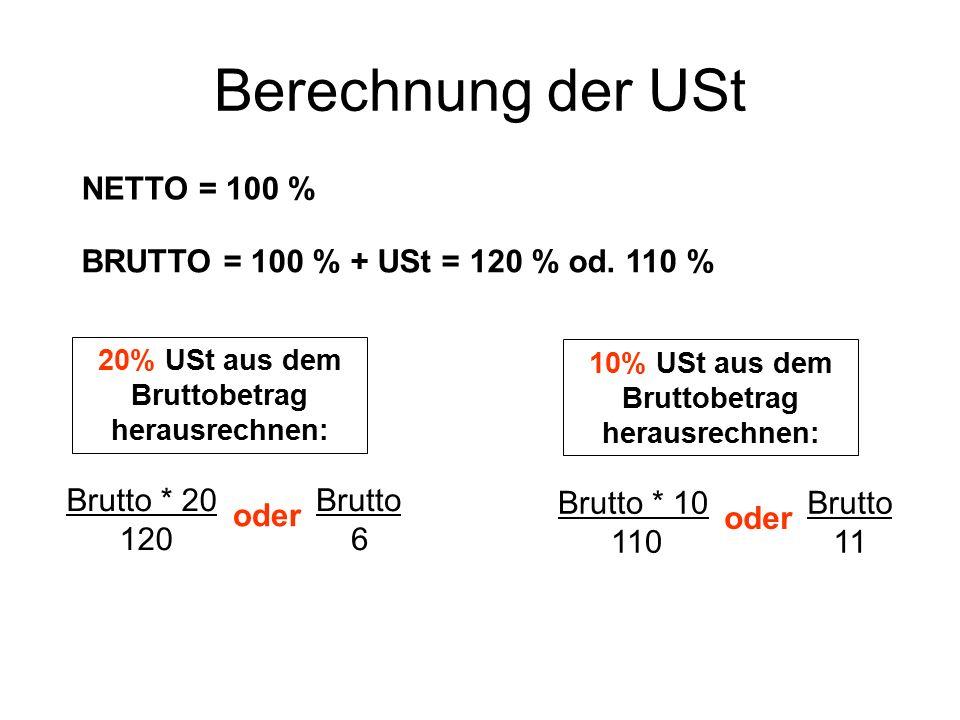 Berechnung der USt NETTO = 100 % BRUTTO = 100 % + USt = 120 % od. 110 % 20% USt aus dem Bruttobetrag herausrechnen: Brutto * 20 120 Brutto 6 oder 10%