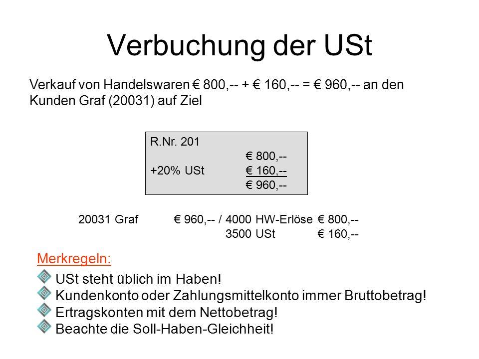 Verbuchung der USt Verkauf von Handelswaren € 800,-- + € 160,-- = € 960,-- an den Kunden Graf (20031) auf Ziel R.Nr. 201 € 800,-- +20% USt€ 160,-- € 9