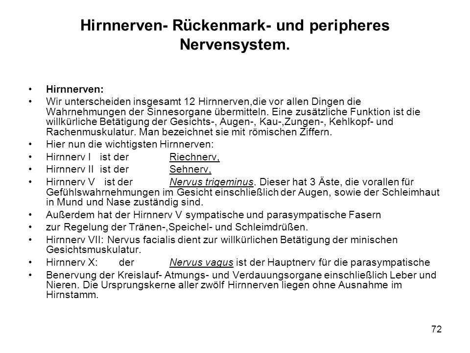 72 Hirnnerven- Rückenmark- und peripheres Nervensystem.