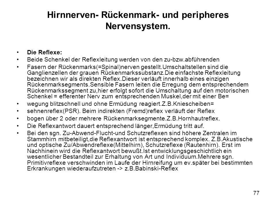 77 Hirnnerven- Rückenmark- und peripheres Nervensystem.