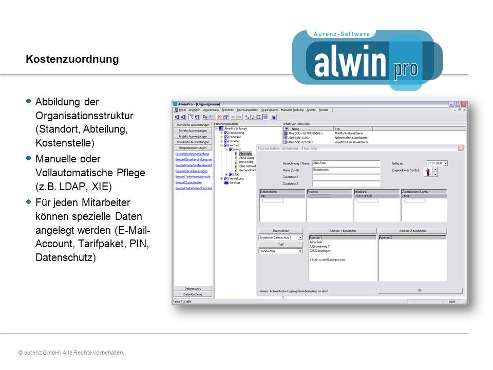 11© aurenz GmbH | Alle Rechte vorbehalten. Kostenzuordnung  Abbildung der Organisationsstruktur (Standort, Abteilung, Kostenstelle)  Manuelle oder V