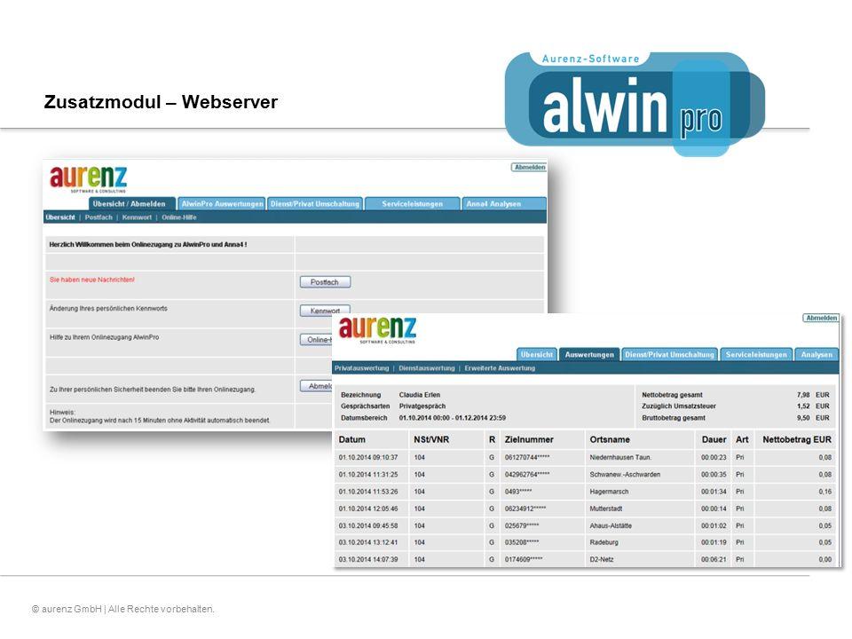 17© aurenz GmbH | Alle Rechte vorbehalten. Zusatzmodul – Webserver