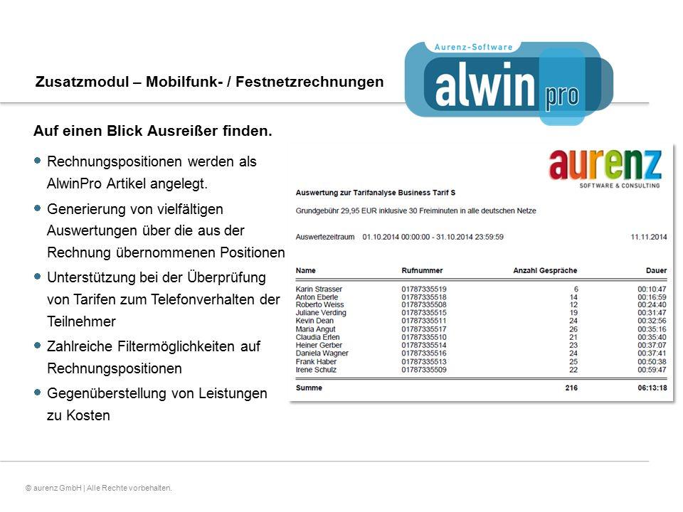 19© aurenz GmbH | Alle Rechte vorbehalten. Auf einen Blick Ausreißer finden.  Rechnungspositionen werden als AlwinPro Artikel angelegt.  Generierung