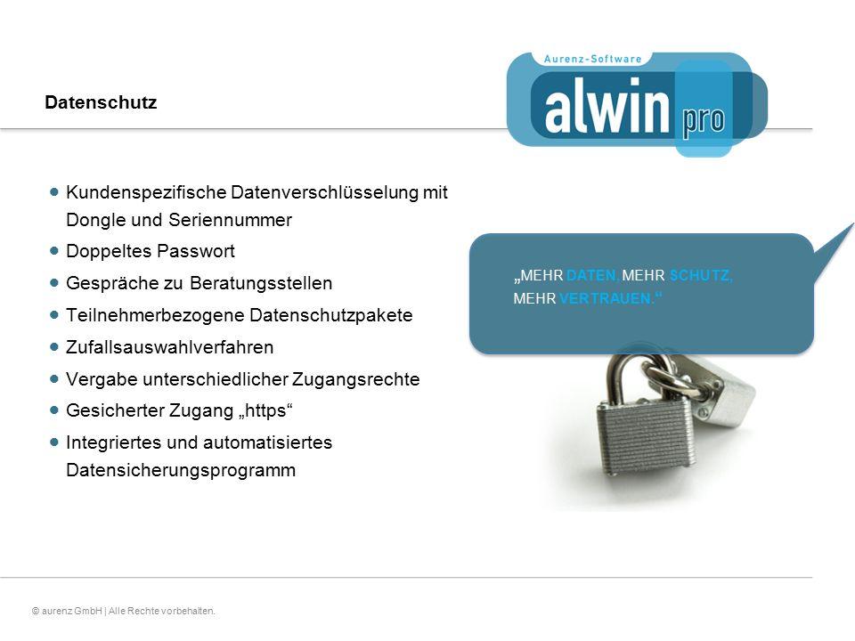 21© aurenz GmbH | Alle Rechte vorbehalten. Datenschutz  Kundenspezifische Datenverschlüsselung mit Dongle und Seriennummer  Doppeltes Passwort  Ges