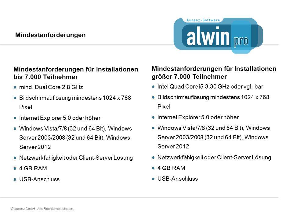 23© aurenz GmbH | Alle Rechte vorbehalten. Mindestanforderungen Mindestanforderungen für Installationen bis 7.000 Teilnehmer  mind. Dual Core 2,8 GHz