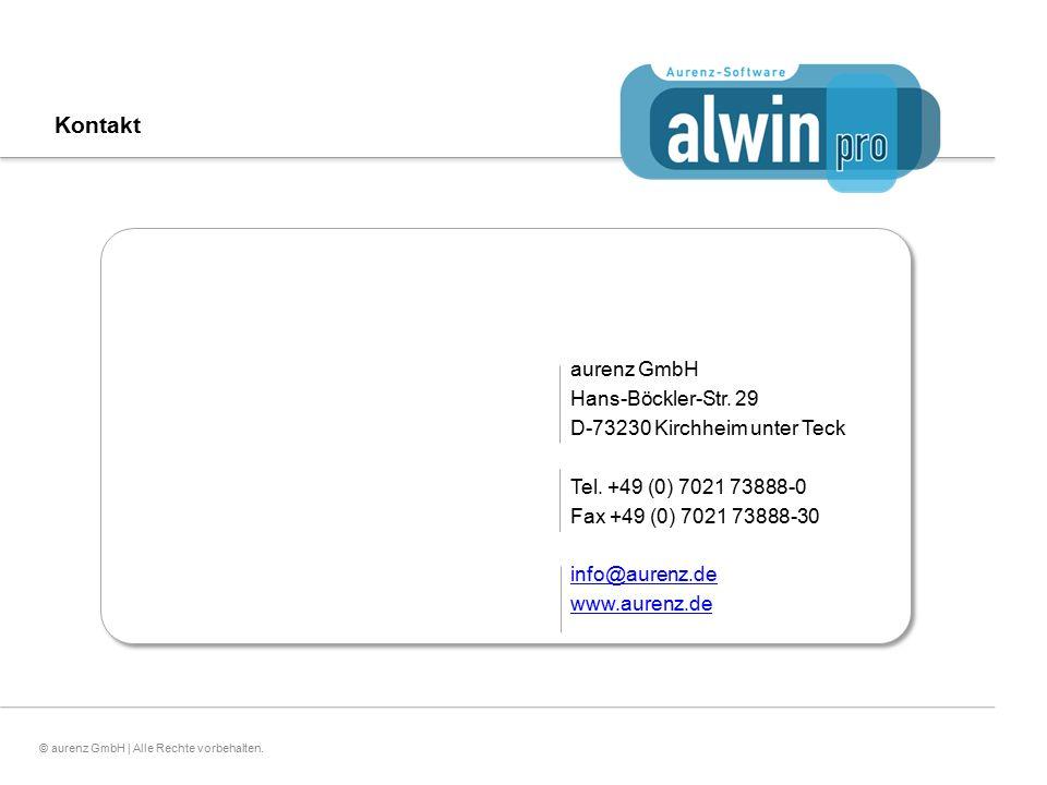 25© aurenz GmbH | Alle Rechte vorbehalten. Kontakt Vielen Dank für Ihre Aufmerksamkeit! aurenz GmbH Hans-Böckler-Str. 29 D-73230 Kirchheim unter Teck