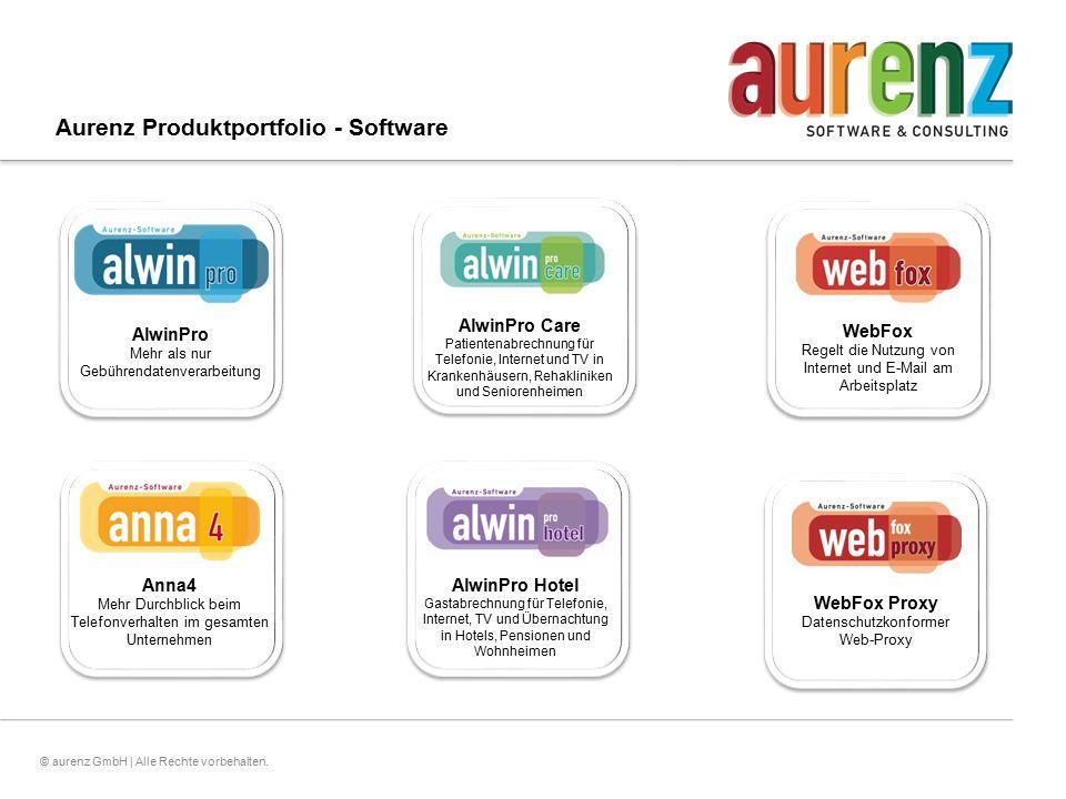 3© aurenz GmbH | Alle Rechte vorbehalten. Aurenz Produktportfolio - Software AlwinPro Mehr als nur Gebührendatenverarbeitung Anna4 Mehr Durchblick bei
