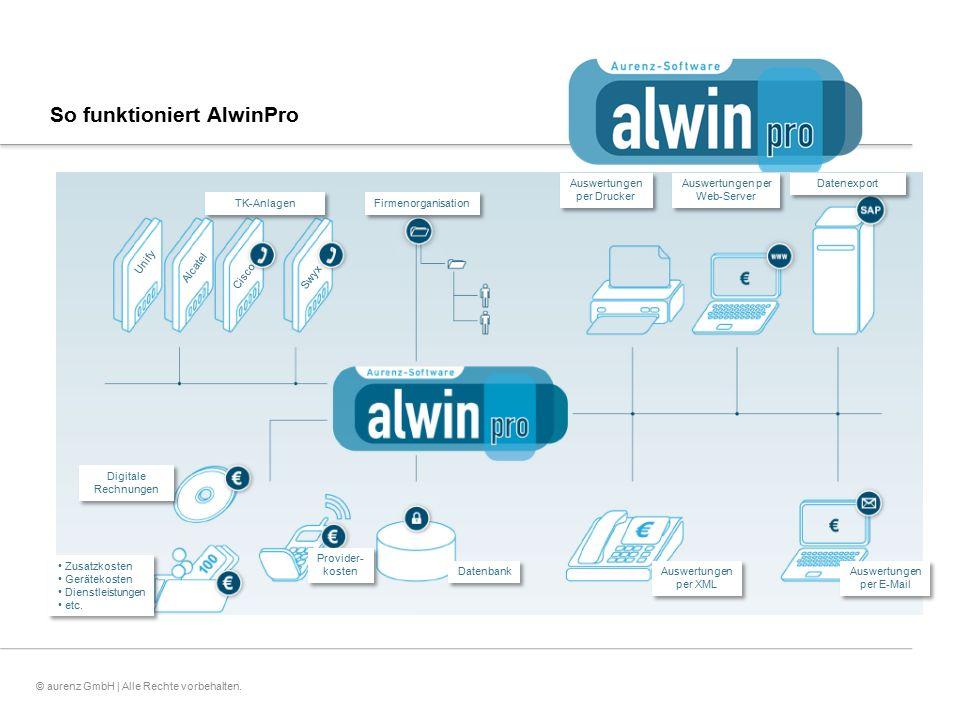8© aurenz GmbH | Alle Rechte vorbehalten. So funktioniert AlwinPro Unify Alcatel Cisco Zusatzkosten Gerätekosten Dienstleistungen etc. Zusatzkosten Ge