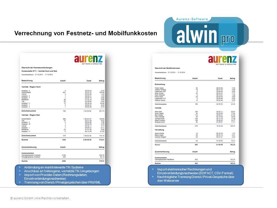 9© aurenz GmbH | Alle Rechte vorbehalten. Verrechnung von Festnetz- und Mobilfunkkosten  Anbindung an marktrelevante TK-Systeme  Anschluss an hetero