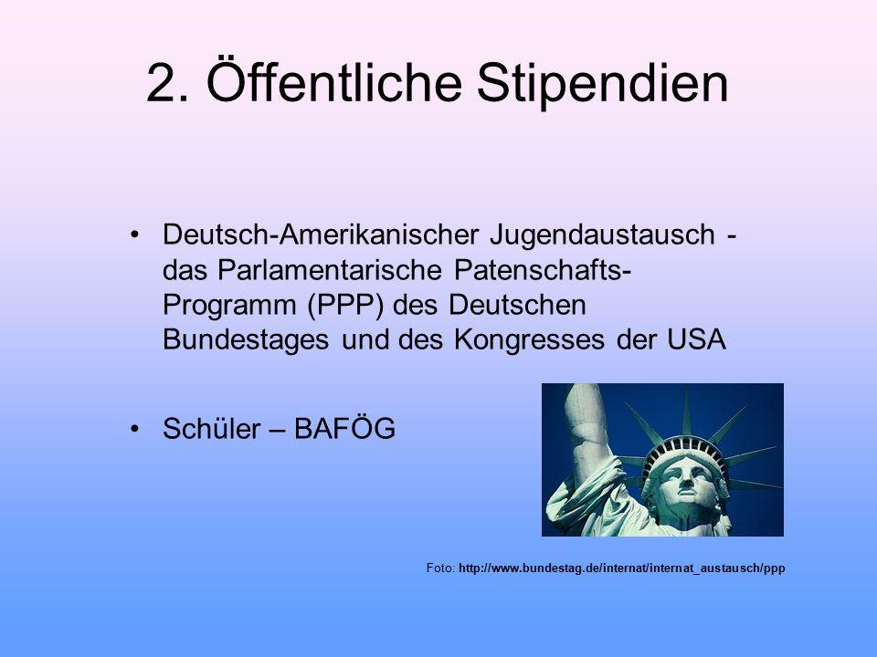 2. Öffentliche Stipendien Deutsch-Amerikanischer Jugendaustausch - das Parlamentarische Patenschafts- Programm (PPP) des Deutschen Bundestages und des