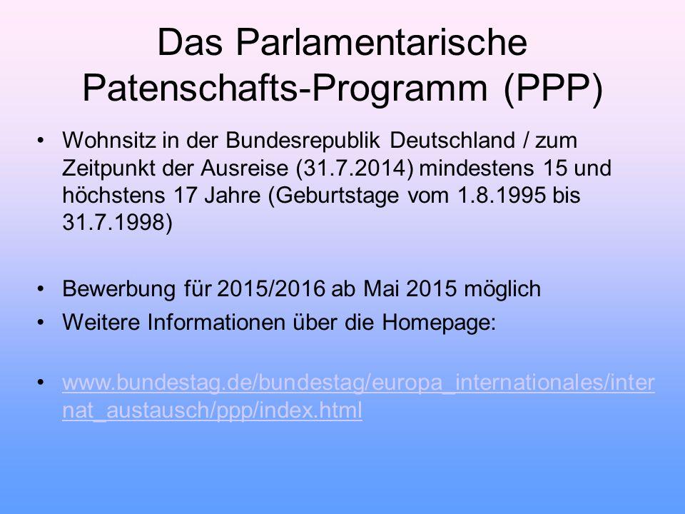 Wohnsitz in der Bundesrepublik Deutschland / zum Zeitpunkt der Ausreise (31.7.2014) mindestens 15 und höchstens 17 Jahre (Geburtstage vom 1.8.1995 bis