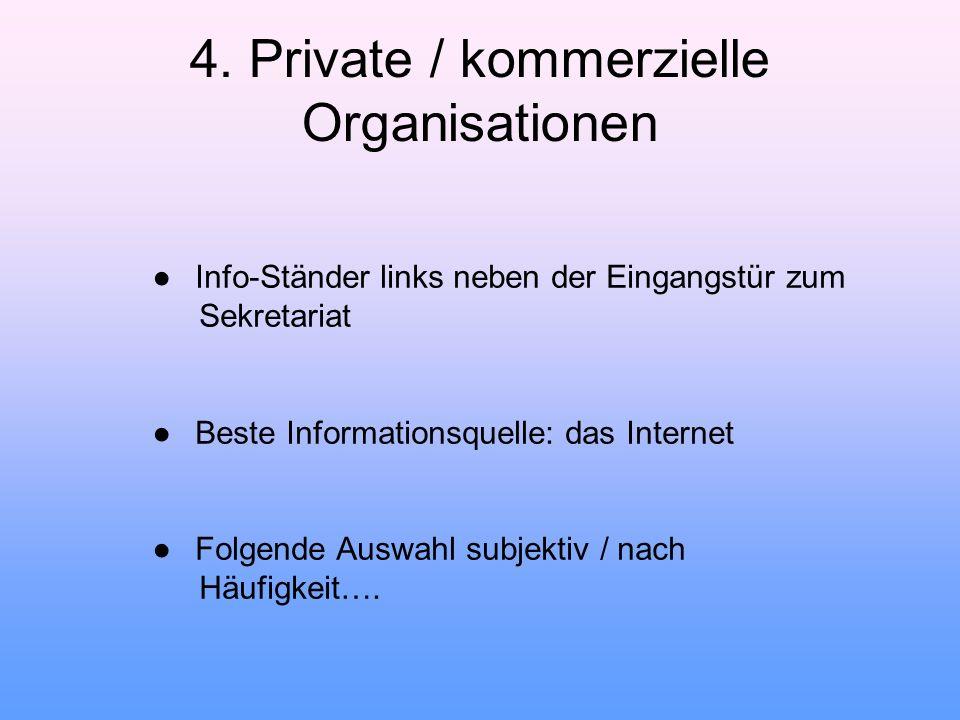 4. Private / kommerzielle Organisationen ● Info-Ständer links neben der Eingangstür zum Sekretariat ● Beste Informationsquelle: das Internet ● Folgend