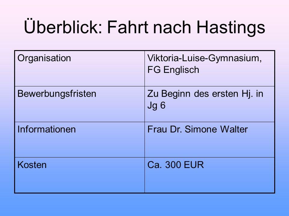Überblick: Fahrt nach Hastings OrganisationViktoria-Luise-Gymnasium, FG Englisch BewerbungsfristenZu Beginn des ersten Hj. in Jg 6 InformationenFrau D