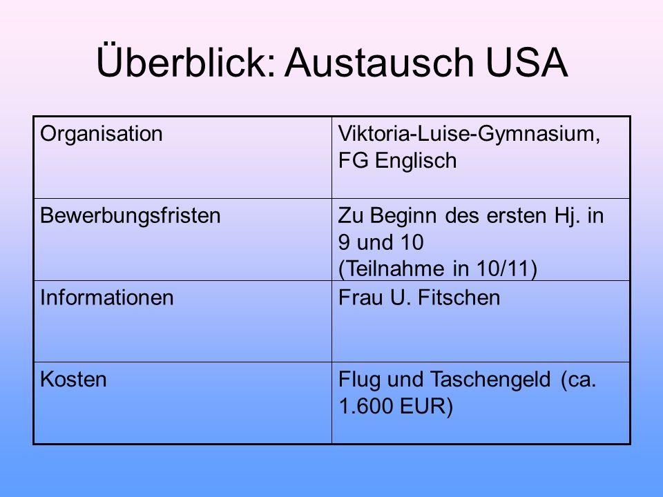 Überblick: Austausch USA OrganisationViktoria-Luise-Gymnasium, FG Englisch BewerbungsfristenZu Beginn des ersten Hj. in 9 und 10 (Teilnahme in 10/11)