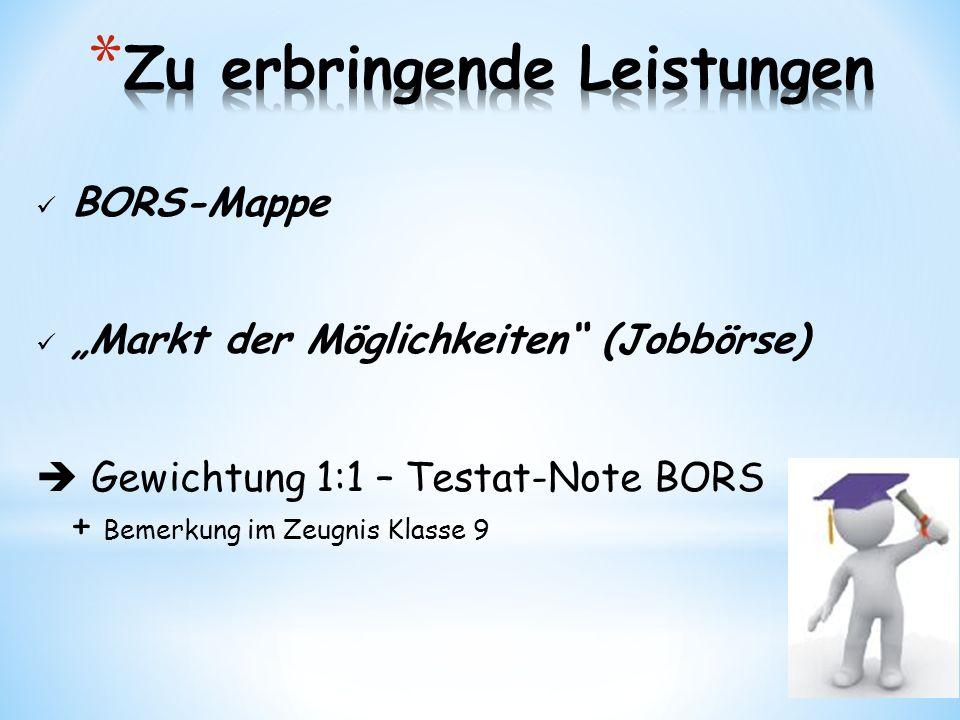 """BORS-Mappe """"Markt der Möglichkeiten (Jobbörse)  Gewichtung 1:1 – Testat-Note BORS + Bemerkung im Zeugnis Klasse 9"""
