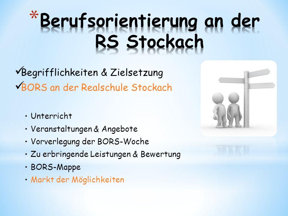 Begrifflichkeiten & Zielsetzung BORS an der Realschule Stockach Unterricht Veranstaltungen & Angebote Vorverlegung der BORS-Woche Zu erbringende Leist