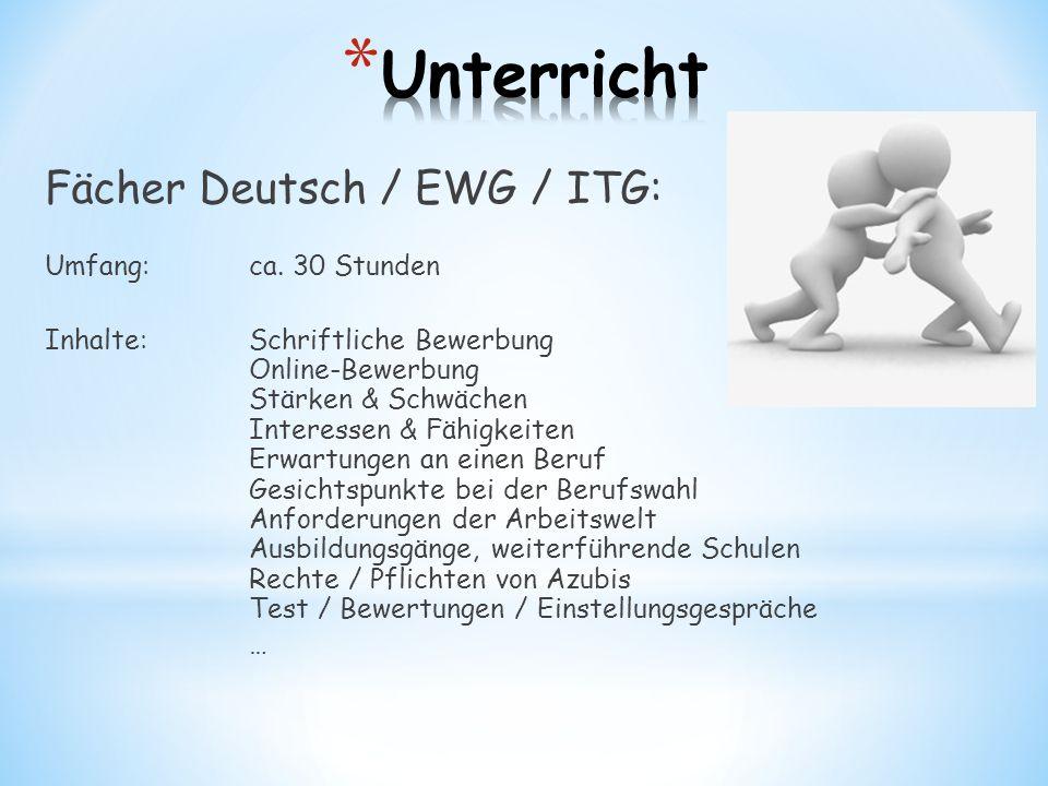 Fächer Deutsch / EWG / ITG: Umfang: ca. 30 Stunden Inhalte:Schriftliche Bewerbung Online-Bewerbung Stärken & Schwächen Interessen & Fähigkeiten Erwart