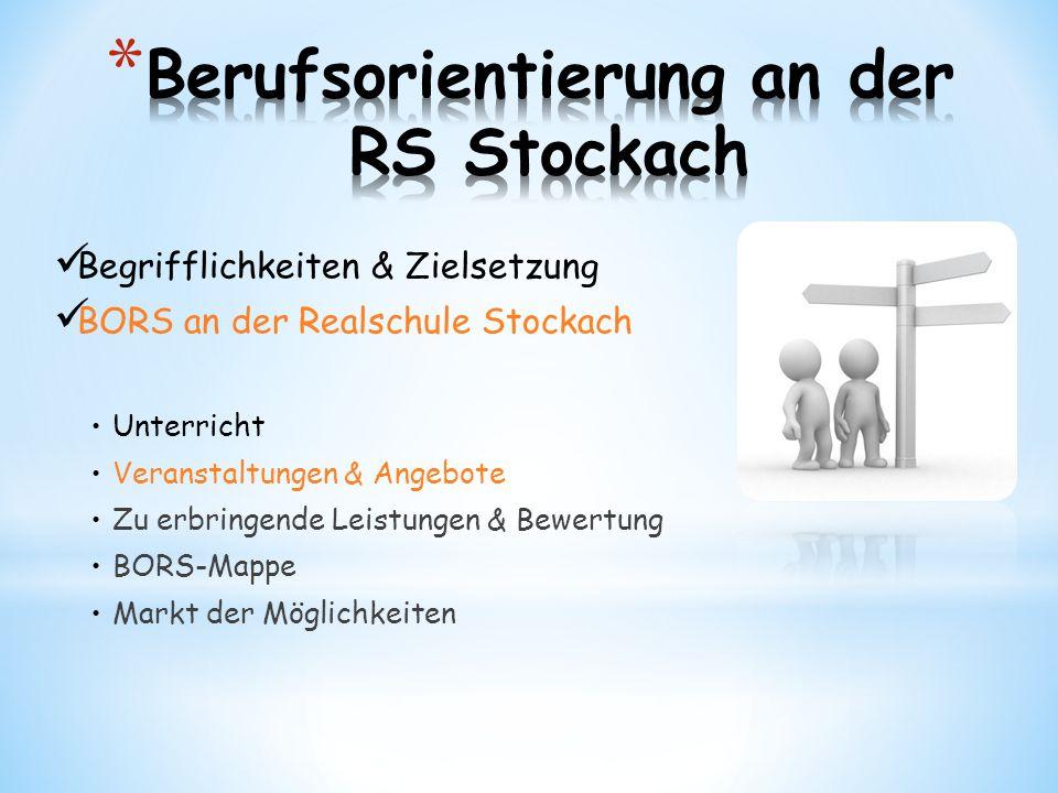 Begrifflichkeiten & Zielsetzung BORS an der Realschule Stockach Unterricht Veranstaltungen & Angebote Zu erbringende Leistungen & Bewertung BORS-Mappe