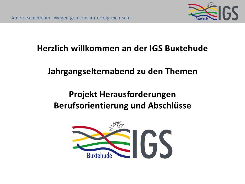 Herzlich willkommen an der IGS Buxtehude Jahrgangselternabend zu den Themen Projekt Herausforderungen Berufsorientierung und Abschlüsse Auf verschiedenen Wegen gemeinsam erfolgreich sein