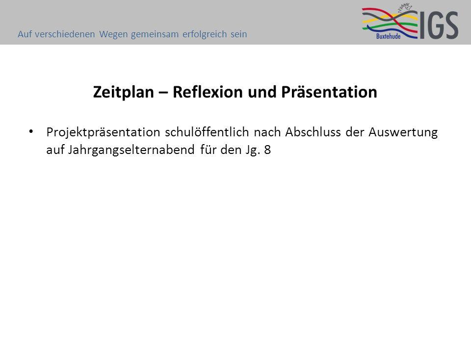 Zeitplan – Reflexion und Präsentation Projektpräsentation schulöffentlich nach Abschluss der Auswertung auf Jahrgangselternabend für den Jg. 8 Auf ver