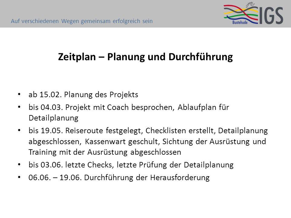 Zeitplan – Planung und Durchführung ab 15.02. Planung des Projekts bis 04.03. Projekt mit Coach besprochen, Ablaufplan für Detailplanung bis 19.05. Re