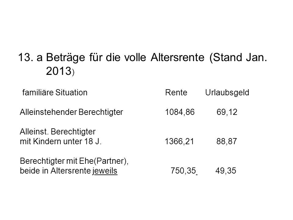 13. a Beträge für die volle Altersrente (Stand Jan. 2013 ) familiäre Situation Rente Urlaubsgeld Alleinstehender Berechtigter 1084,86 69,12 Alleinst.