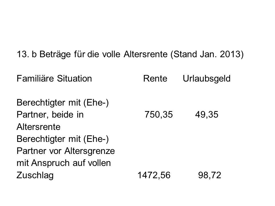 13. b Beträge für die volle Altersrente (Stand Jan. 2013) Familiäre Situation Rente Urlaubsgeld Berechtigter mit (Ehe-) Partner, beide in 750,35 49,35