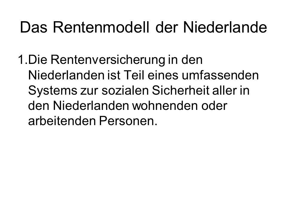 Das Rentenmodell der Niederlande 1.Die Rentenversicherung in den Niederlanden ist Teil eines umfassenden Systems zur sozialen Sicherheit aller in den