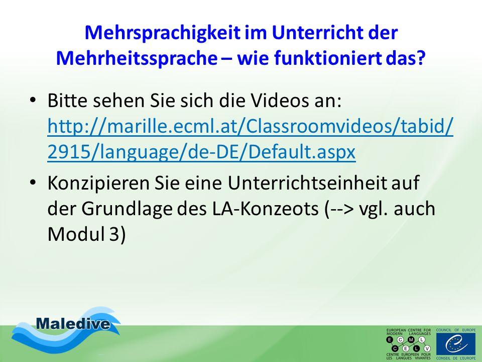 Mehrsprachigkeit im Unterricht der Mehrheitssprache – wie funktioniert das? Bitte sehen Sie sich die Videos an: http://marille.ecml.at/Classroomvideos