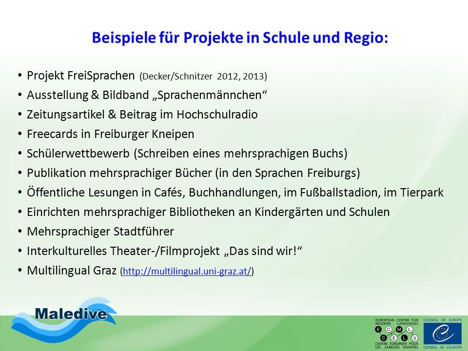 """Beispiele für Projekte in Schule und Regio: Projekt FreiSprachen (Decker/Schnitzer 2012, 2013) Ausstellung & Bildband """"Sprachenmännchen"""" Zeitungsartik"""
