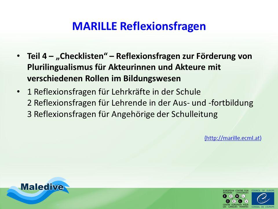 """MARILLE Reflexionsfragen Teil 4 – """"Checklisten"""" – Reflexionsfragen zur Förderung von Plurilingualismus für Akteurinnen und Akteure mit verschiedenen R"""