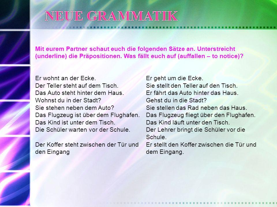 DeutschEnglisch Wie viele verschiedene (different) 2-way Präpositionen gibt es.