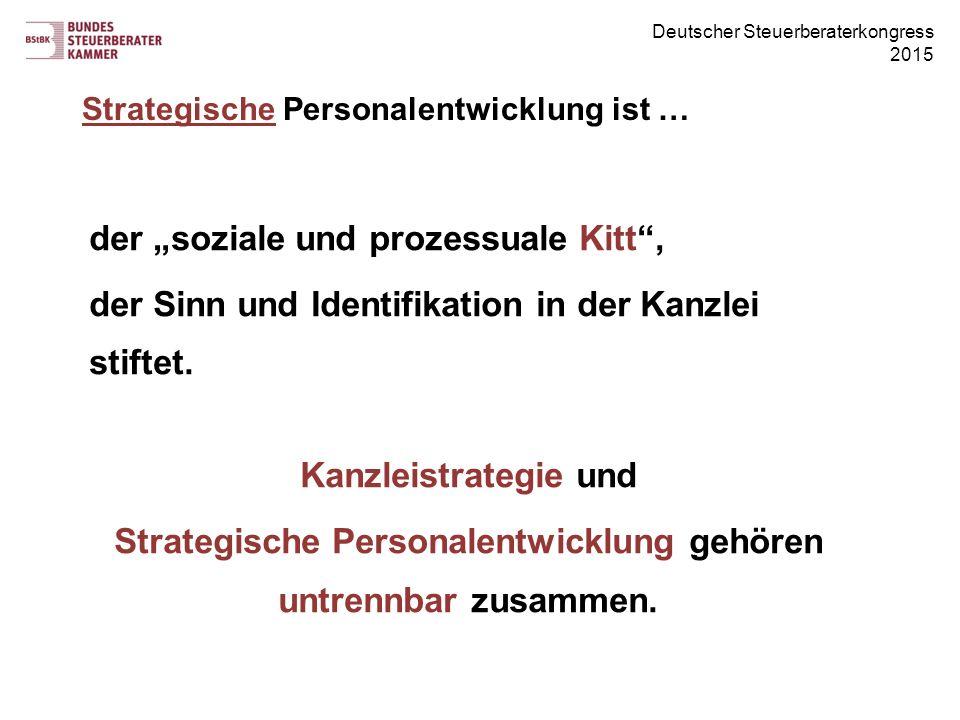 """Deutscher Steuerberaterkongress 2015 der """"soziale und prozessuale Kitt"""", der Sinn und Identifikation in der Kanzlei stiftet. Kanzleistrategie und Stra"""