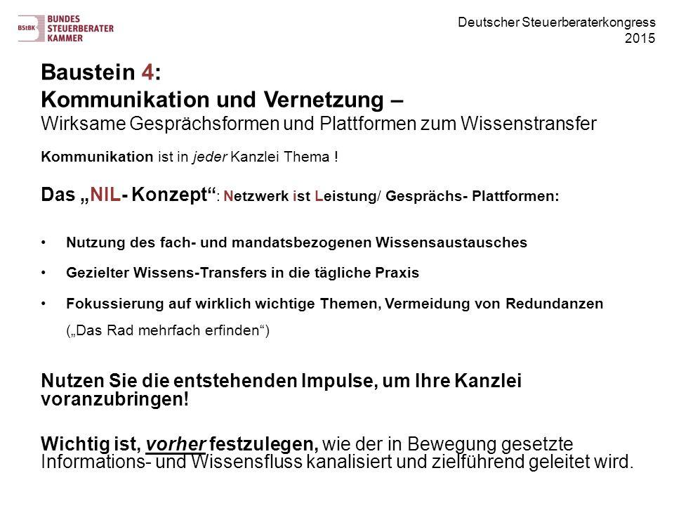 Deutscher Steuerberaterkongress 2015 Baustein 4: Kommunikation und Vernetzung – Wirksame Gesprächsformen und Plattformen zum Wissenstransfer Kommunikation ist in jeder Kanzlei Thema .