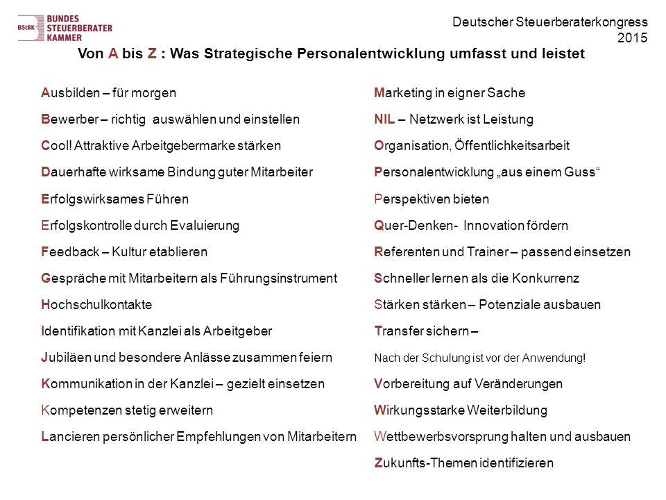 Deutscher Steuerberaterkongress 2015 Von A bis Z : Was Strategische Personalentwicklung umfasst und leistet Ausbilden – für morgenMarketing in eigner Sache Bewerber – richtig auswählen und einstellenNIL – Netzwerk ist Leistung Cool.