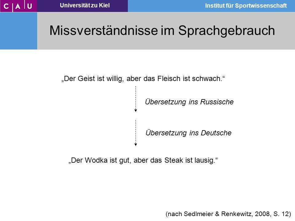 """Universität zu Kiel Institut für Sportwissenschaft Missverständnisse im Sprachgebrauch """"Der Geist ist willig, aber das Fleisch ist schwach."""" """"Der Wodk"""