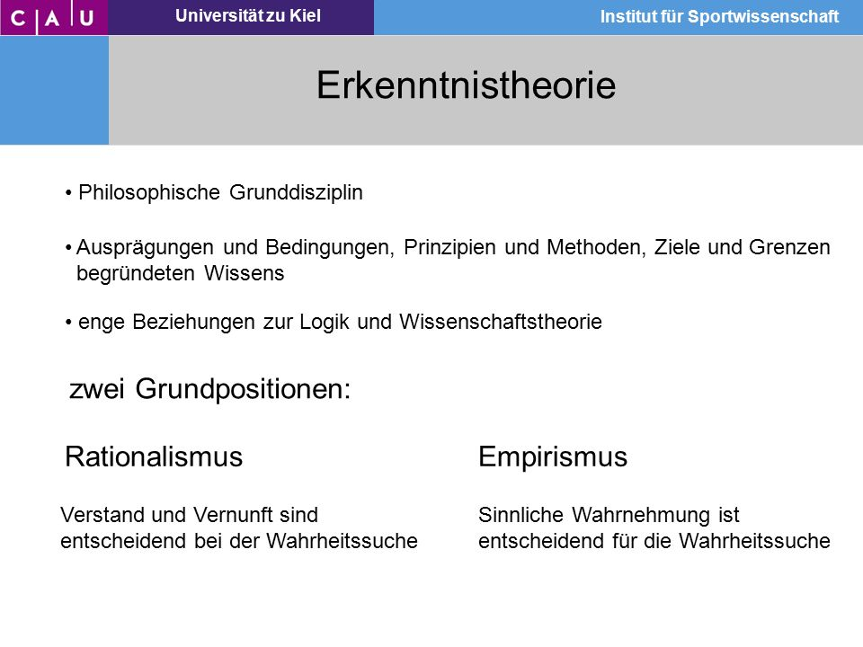Universität zu Kiel Institut für Sportwissenschaft Erkenntnistheorie Philosophische Grunddisziplin Ausprägungen und Bedingungen, Prinzipien und Method