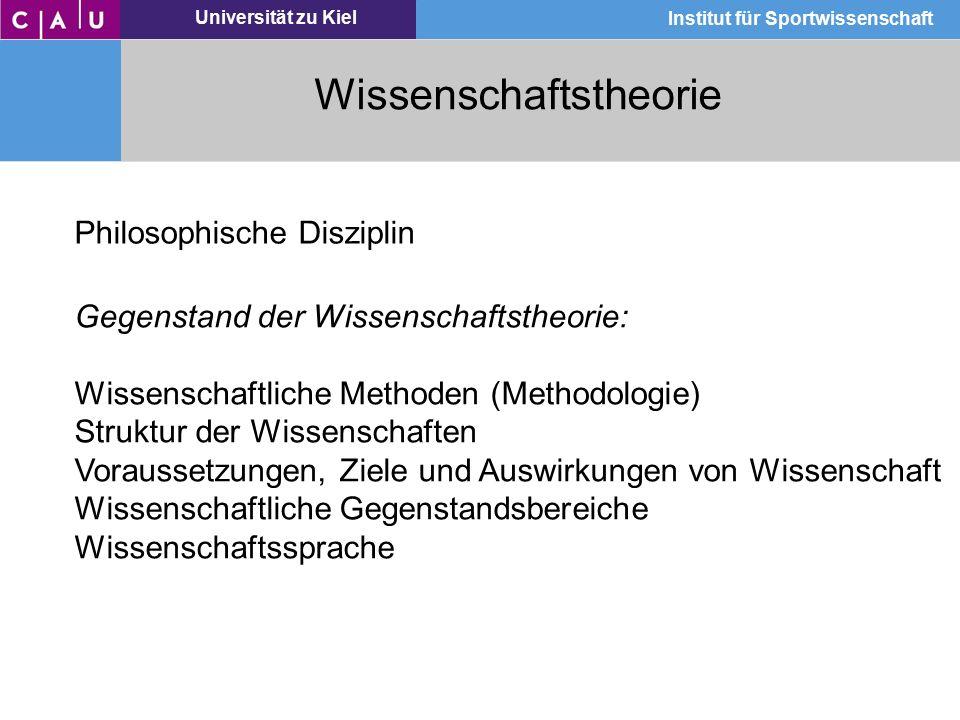 Universität zu Kiel Institut für Sportwissenschaft Wissenschaftstheorie Philosophische Disziplin Gegenstand der Wissenschaftstheorie: Wissenschaftlich