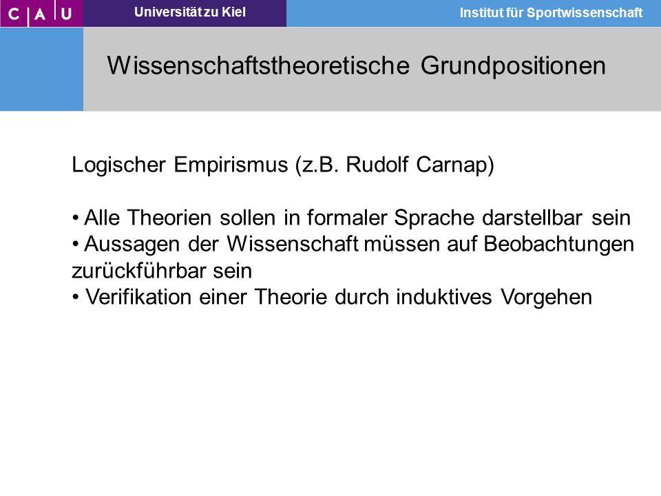 Universität zu Kiel Institut für Sportwissenschaft Wissenschaftstheoretische Grundpositionen Logischer Empirismus (z.B. Rudolf Carnap) Alle Theorien s