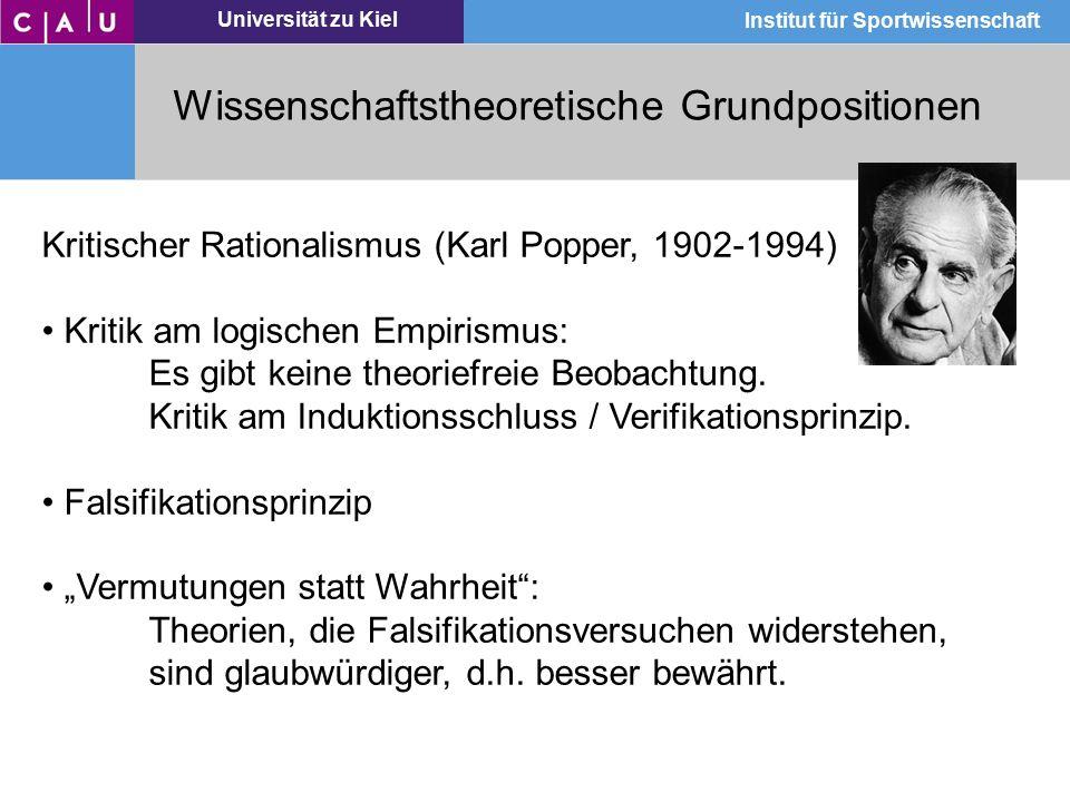 Universität zu Kiel Institut für Sportwissenschaft Wissenschaftstheoretische Grundpositionen Kritischer Rationalismus (Karl Popper, 1902-1994) Kritik