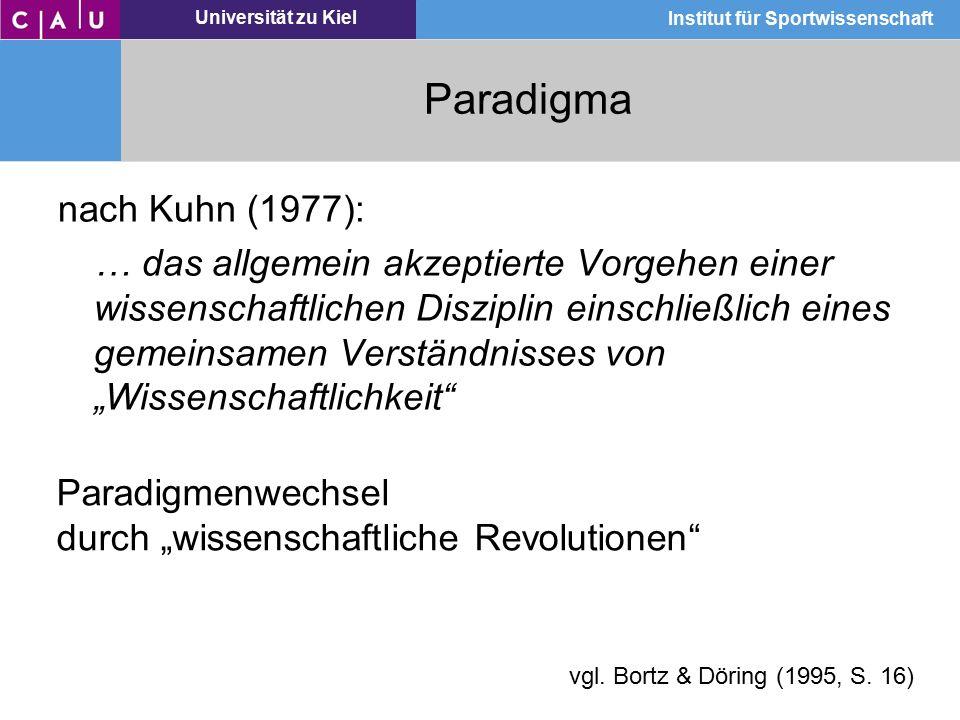 Universität zu Kiel Institut für Sportwissenschaft Paradigma nach Kuhn (1977): … das allgemein akzeptierte Vorgehen einer wissenschaftlichen Disziplin