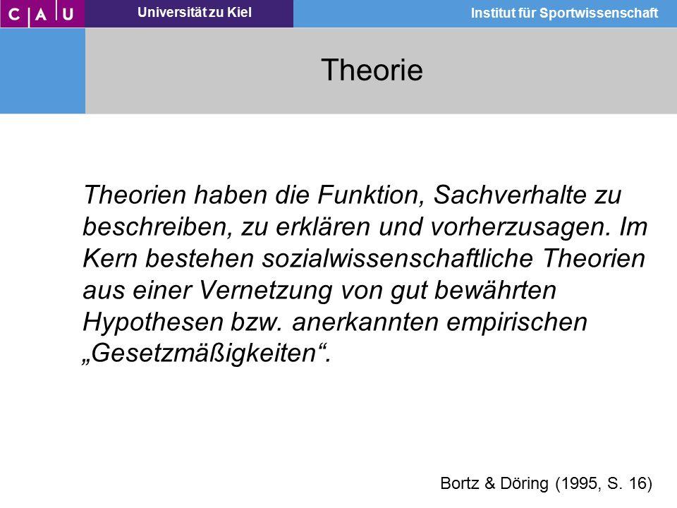 Universität zu Kiel Institut für Sportwissenschaft Theorie … ein System logisch widerspruchsfreier Aussagen (Sätze, Hypothesen) über den jeweiligen Untersuchungsgegenstand mit den zugehörigen Definitionen der verwendeten Begriffe.